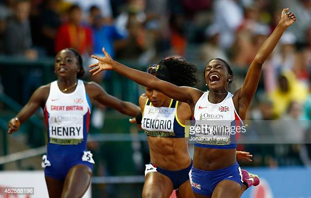 Dina AsherSmith of Great Britain celebrates her win in the 100m Final against Ángela Tenorio of Ecuador and Desiree Henry of Great Britain during day...