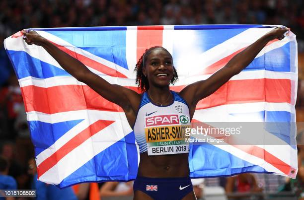 Dina AsherSmith of Great Britain celebrates winning gold in the Women's 200 metres final during day five of the 24th European Athletics Championships...