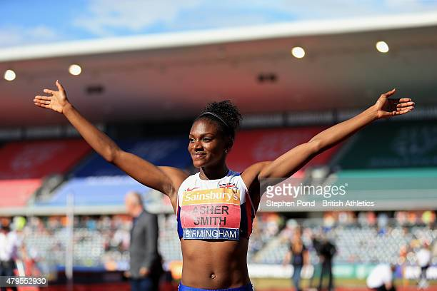 Dina AsherSmith of Great Britain celebrates winning the women's 100m during day three of the Sainsbury's British Championships at Alexander Stadium...