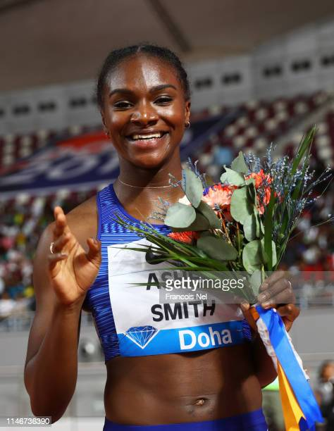 Dina AsherSmith of Great Britain celebrates winning the Women's 200 metres during the IAAF Diamond League event at the Khalifa International Stadium...