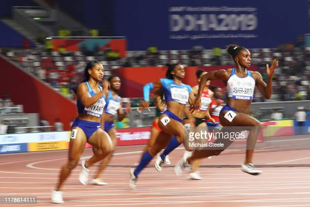 Dina Asher-Smith of Great Britain competes in the Women's 200 metres final during day six of 17th IAAF World Athletics Championships Doha 2019 at...