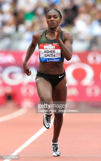 Dina AsherSmith of Great Britain competes in the Women's 200m during Day Two of the Muller Anniversary Games at London Stadium on July 22 2018 in...