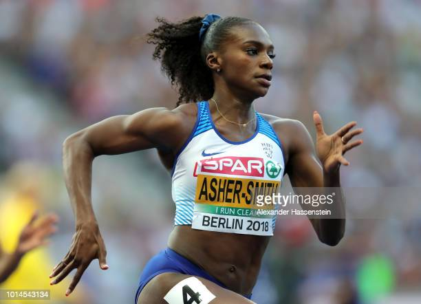 Dina AsherSmith of Great Britain competes in the Women's 200m Semi Final during day four of the 24th European Athletics Championships at...