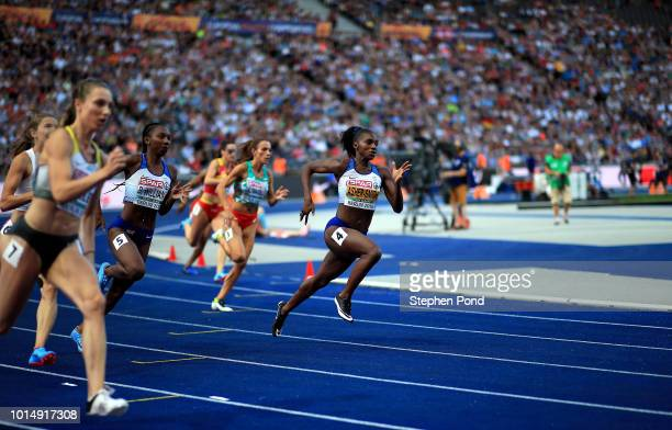 Dina Asher-Smith of Great Britain competes in the Women's 200m semi final during day four of the 24th European Athletics Championships at...