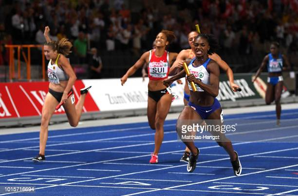 Dina AsherSmith of Great Britain crosses the line to win gold in the Women's 4 x 100m Relay Final during day six of the 24th European Athletics...