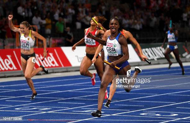Dina Asher-Smith of Great Britain crosses the line to win gold in the Women's 4 x 100m Relay Final during day six of the 24th European Athletics...