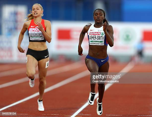 Dina AsherSmith of Great Britain in action during the final of the womens 200m on day two of The 23rd European Athletics Championships at Olympic...