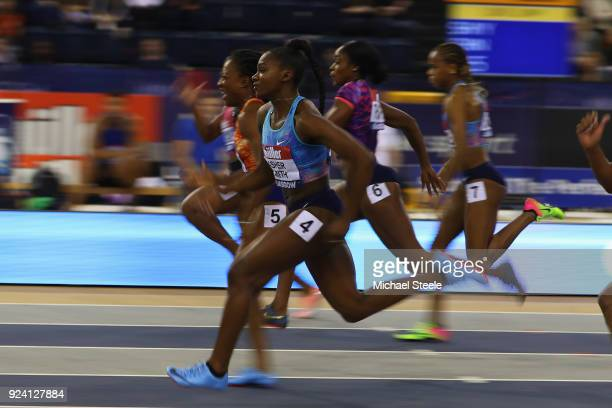 Dina AsherSmith of Great Britain on her way to finishing second in the women's 60m final during the Muller Indoor Grand Prix at Emirates Arena on...