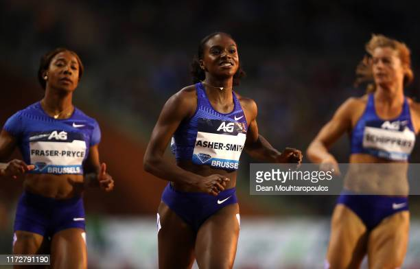 Dina Asher-Smith of Great Britain or Team GB competes and wins the Women's 100m Final during the IAAF Diamond League Memorial Van Damme at King...