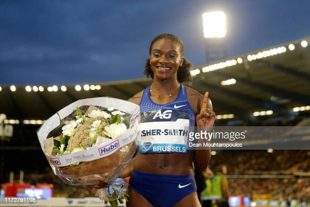 Dina AsherSmith of Great Britain or Team GB competes and wins the Women's 100m Final during the IAAF Diamond League Memorial Van Damme at King...