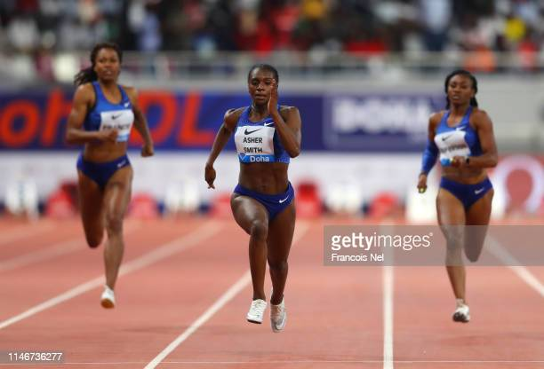 Dina AsherSmith of Great Britain races to the finish line to win the Women's 200 metres during the IAAF Diamond League event at the Khalifa...