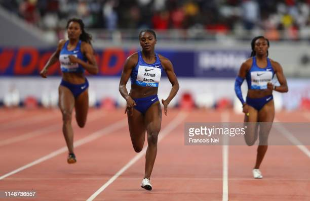 Dina Asher-Smith of Great Britain races to the finish line to win the Women's 200 metres during the IAAF Diamond League event at the Khalifa...