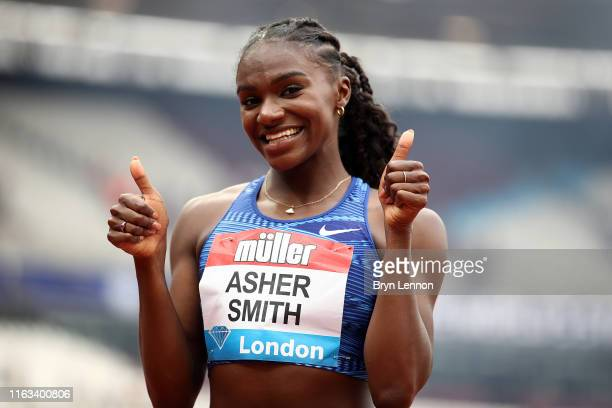 Dina Asher-Smith of Great Britain reacts after the Women's 100m Final during Day Two of the Muller Anniversary Games IAAF Diamond League event at the...