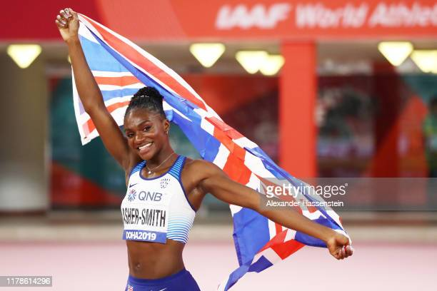 Dina Asher-Smith of Great Britain reacts after winning gold in the Women's 200 metres final during day six of 17th IAAF World Athletics Championships...