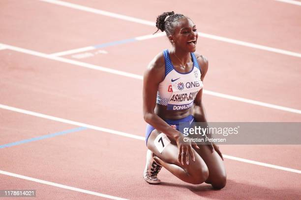 Dina Asher-Smith of Great Britain reacts after winning the Women's 200 metres final during day six of 17th IAAF World Athletics Championships Doha...