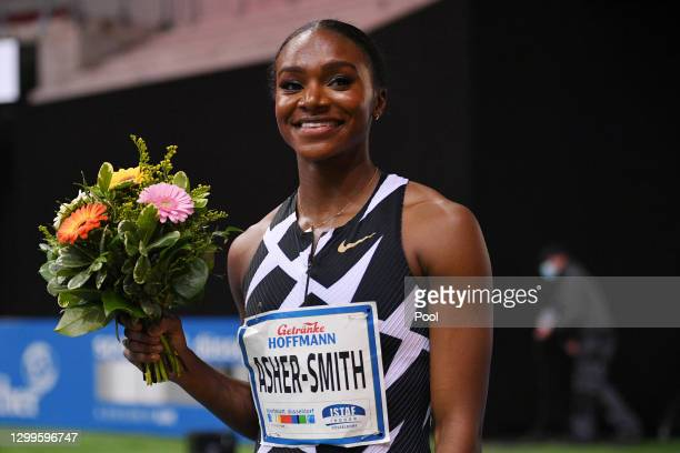 Dina Asher-Smith of Great Britain reacts after winning the Women's 60 Metres run during the ISTAF Indoor Duesseldorf athletics meeting at ISS Dome on...