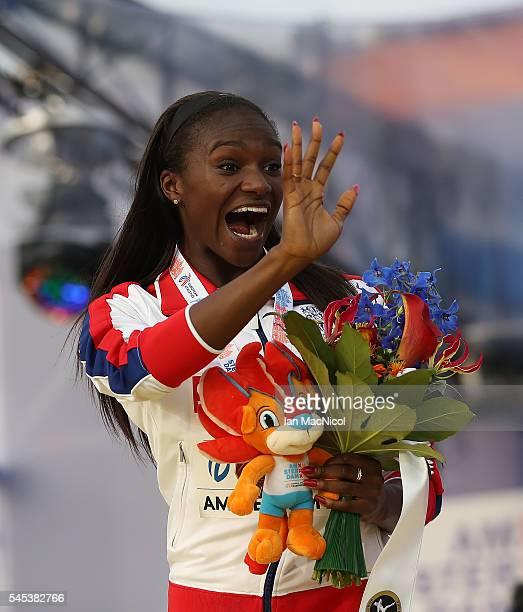 Dina AsherSmith of Great Britain waves after she is presented with her Gold medal from the Women's 200m during Day Two of The European Athletics...