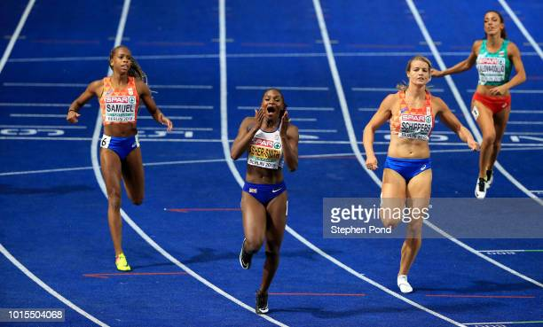 Dina AsherSmith of Great Britain wins gold in the Women's 200m final during day five of the 24th European Athletics Championships at Olympiastadion...