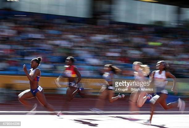 Dina AsherSmith of Great Britain wins the women's 100 meter final during day three of the Sainsbury's British Championships at Birmingham Alexander...