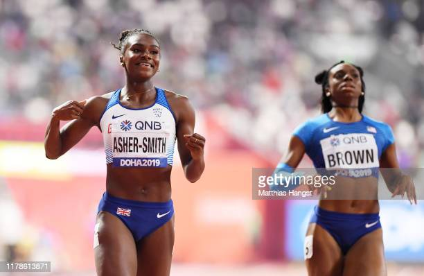 Dina Asher-Smith of Great Britain wins the Women's 200 metres final during day six of 17th IAAF World Athletics Championships Doha 2019 at Khalifa...
