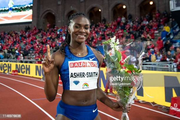 Dina AsherSmith of Great Britain wins the Women's 200m Final during the Stockholm 2019 Diamond League at Stockholm's Olympiastadion on May 30 2019 in...