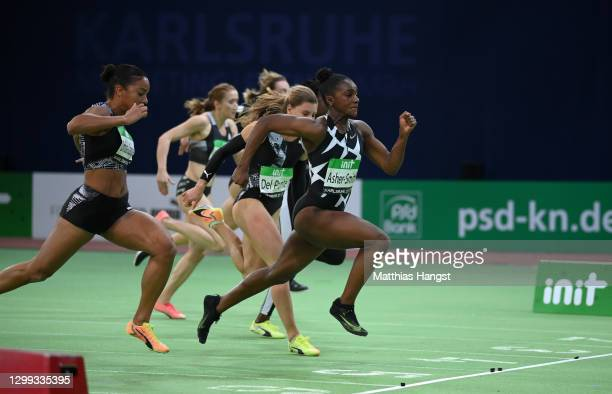 Dina Asher-Smith of Great Britain wins the Women's 60m final during the Indoor Track and Field Meeting Karlsruhe at Europahalle on January 29, 2021...