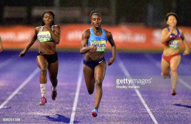 Dina AsherSmith of Great Britian competes in the Women's 200m event during the Summer of Athletics Grand Prix at QSAC on March 22 2018 in Brisbane...