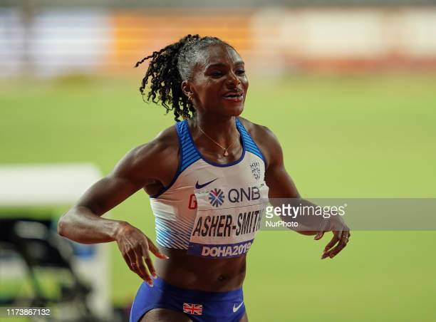 Dina AsherSmith of United Kingdom competing in 4 times 100 meter for women during the 17th IAAF World Athletics Championships at the Khalifa Stadium...