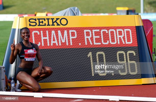 Dina Asher-Smith pictured after her winning time by winning the Womens 100m Final during Day One of the Muller British Athletics Championships at the...