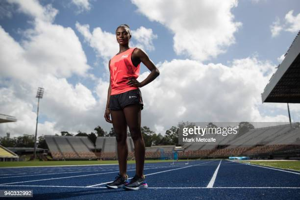 Dina AsherSmith poses during a Team England media opportunity ahead of the 2018 Gold Coast Commonwealth Games at Queensland Sport and Athletics...