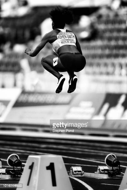 Dina AsherSmith prepares for the Women's 100m during Day One of the 24th European Athletics Championships at Olympiastadion on August 7 2018 in...