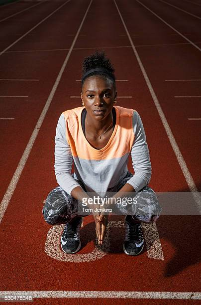 Dina AsherSmith the British sprinter poses for a photo at the Paula Radcliffe athetics track at Loughborough University on December 10th 2015 in...