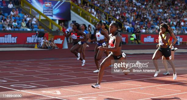 Dina Asher-Smith wins the Womens 100m Final during Day One of the Muller British Athletics Championships at the at Alexander Stadium on August 24,...