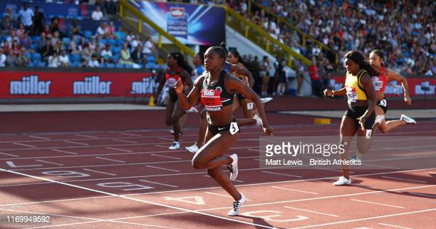 Dina AsherSmith wins the Womens 100m Final during Day One of the Muller British Athletics Championships at the at Alexander Stadium on August 24 2019...