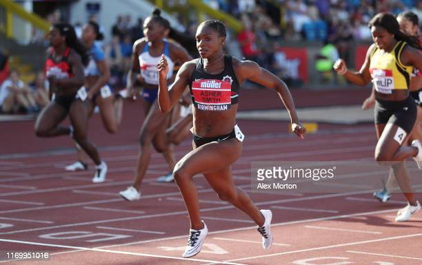 Dina AsherSmith wins the women's 100m final in a championship record time of 1096 seconds during Day One of the Muller British Athletics...