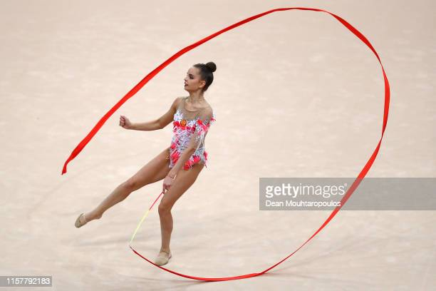 Dina Averina of Russia competes in the Rhythmic Gymnastics Women's Ribbon Finals during the 2nd European Games held in the Minsk Arena on June 23...