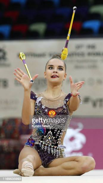 Dina Averina of Russia performs en route to winning the individual clubs exercise at the Rhythmic Gymnastics World Championships in Baku Azerbaijan...