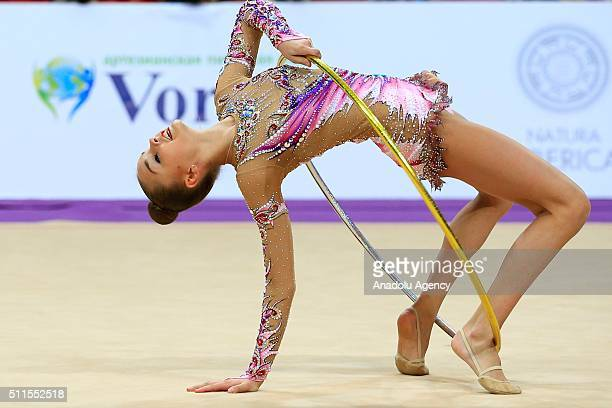 Dina Averina of Russia performs hoop exercise in the final of the International Rhythmic Gymnastics Championship during the Alina Cup Grand Prix 2016...