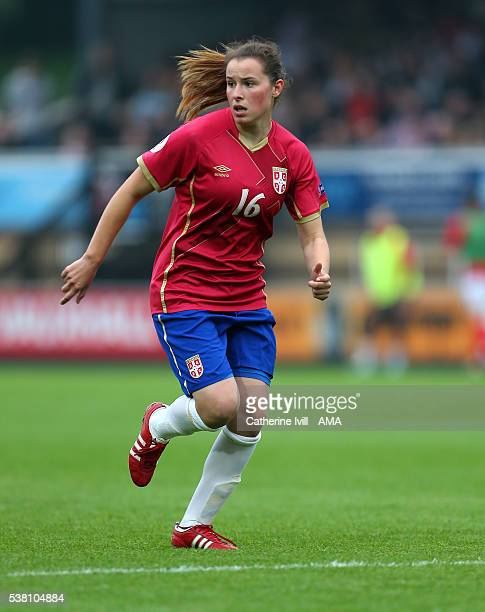 Dina Blagojevic of Serbia during the UEFA Women's European Championship Qualifier match between England and Serbia at Adams Park on June 4 2016 in...