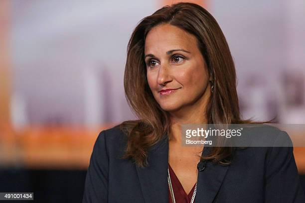 Dina DeMerell director of the Ultimate Rewards and EMV Chip programs at JPMorgan Chase Co listens during a Bloomberg Television interview in New York...