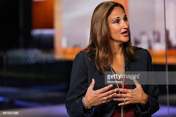 Dina DeMerell director of the Ultimate Rewards and EMV Chip programs at JPMorgan Chase Co speaks during a Bloomberg Television interview in New York...