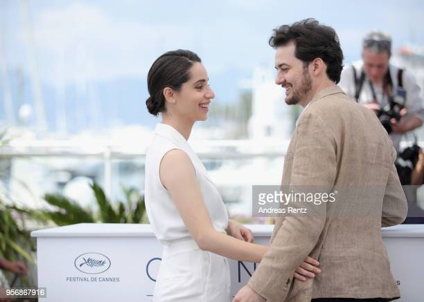 Dina Emam and AB Shawky attend the photocall for 'Yomeddine' during the 71st annual Cannes Film Festival at Palais des Festivals on May 10 2018 in...