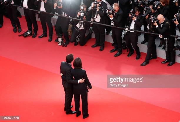 Dina Emam and AB Shawky attend the screening of 'Yomeddine' during the 71st annual Cannes Film Festival at Palais des Festivals on May 9 2018 in...