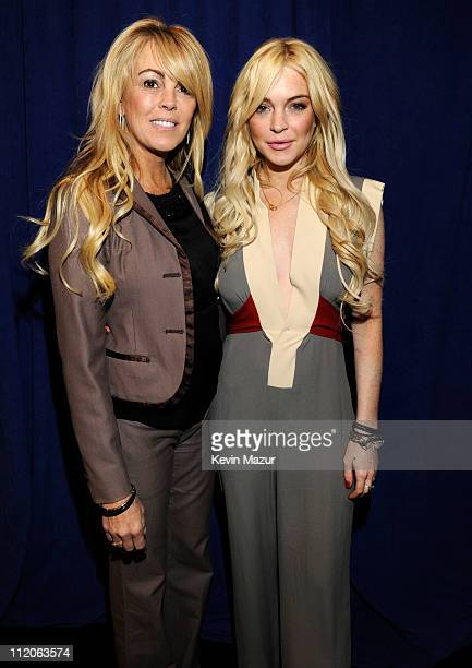 Dina Lohan and Lindsay Lohan attend the Gotti press conference at Sheraton New York Hotel Towers Central Park West Room on April 12 2011 in New York...