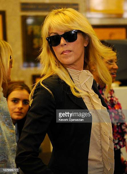 Dina Lohan arrives to witness her daughter Lindsay Lohan surrender to serve her 90 day jail sentence at the Beverly Hills Courthouse on July 20 2010...