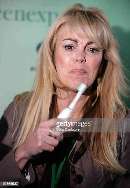 Dina Lohan introduces the Aqua Freedom Green Lohan Toothbrush at Pier 92 on March 19 2010 in New York City