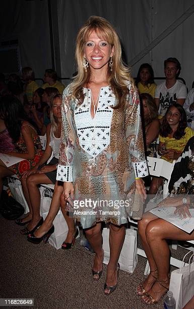 Dina Manzo poses front row at the Mara Hoffman fashion show at Mercedes Benz Fashion Week Swim at The Raleigh on July 18, 2009 in Miami, Florida.