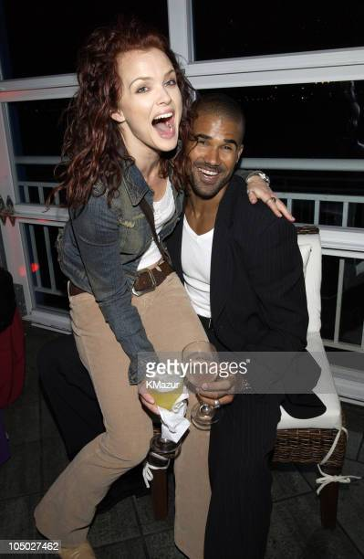Dina Meyer and Shemar Moore during The WB Television Network Upfront Allstar Party at The Lighthouse at Chelsea Piers in New York City New York...