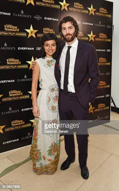 Dina Mousawi and Jim Sturgess arrive at the London Evening Standard British Film Awards 2018 at Claridge's Hotel on February 8 2018 in London England