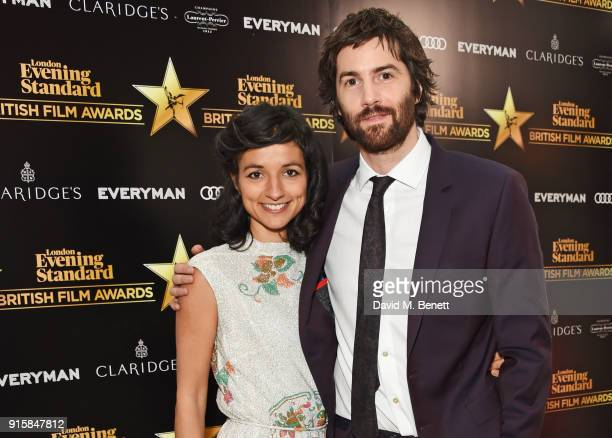 Dina Mousawi and Jim Sturgess arrive at the London Evening Standard British Film Awards 2018 at Claridge's Hotel on February 8, 2018 in London,...